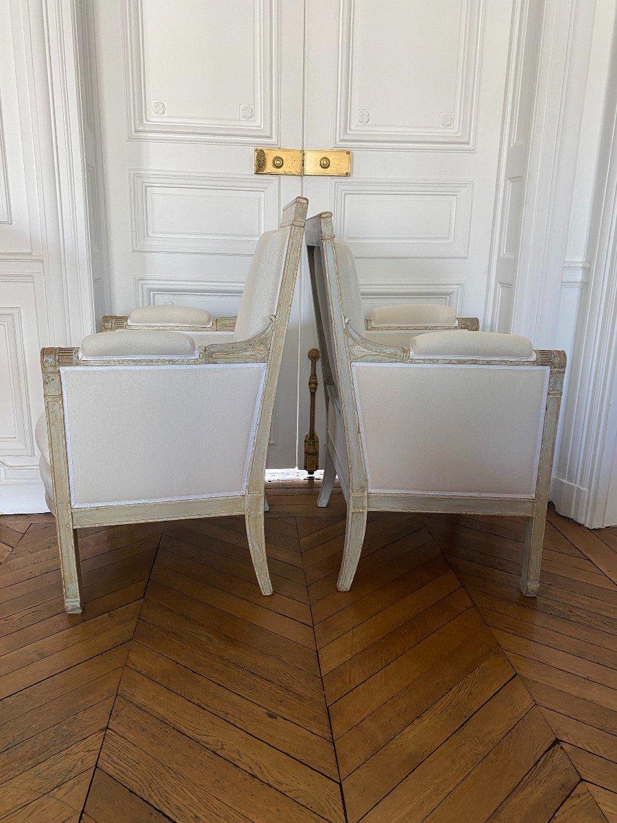 ENSEMBLE DE 3 BERGÈRES ET 2 CHAISES D'ÉPOQUE EMPIRE Provenant du Château de Fontainebleau-photo-6