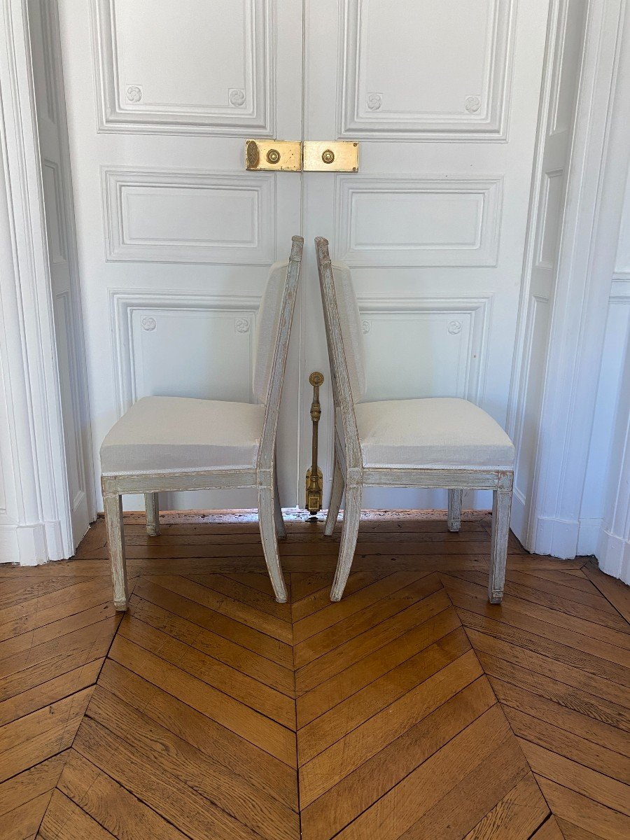 ENSEMBLE DE 3 BERGÈRES ET 2 CHAISES D'ÉPOQUE EMPIRE Provenant du Château de Fontainebleau-photo-7