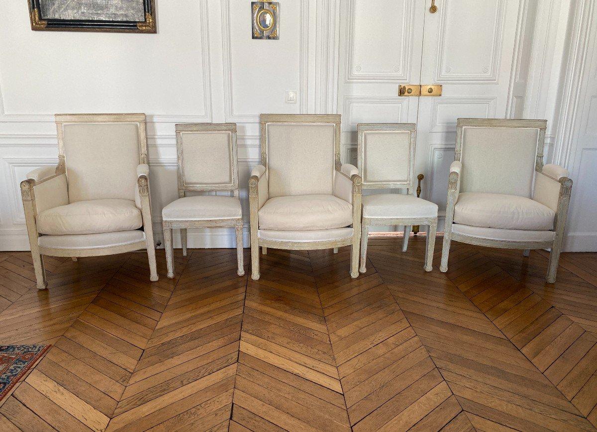 ENSEMBLE DE 3 BERGÈRES ET 2 CHAISES D'ÉPOQUE EMPIRE Provenant du Château de Fontainebleau