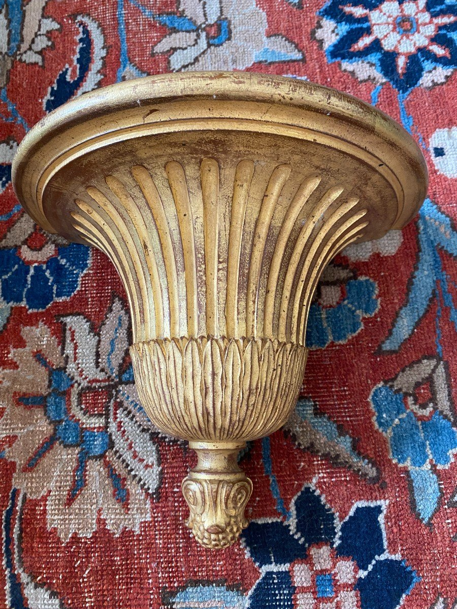 4 Consoles d'Appliques en bois doré De Style Louis XVI-photo-1