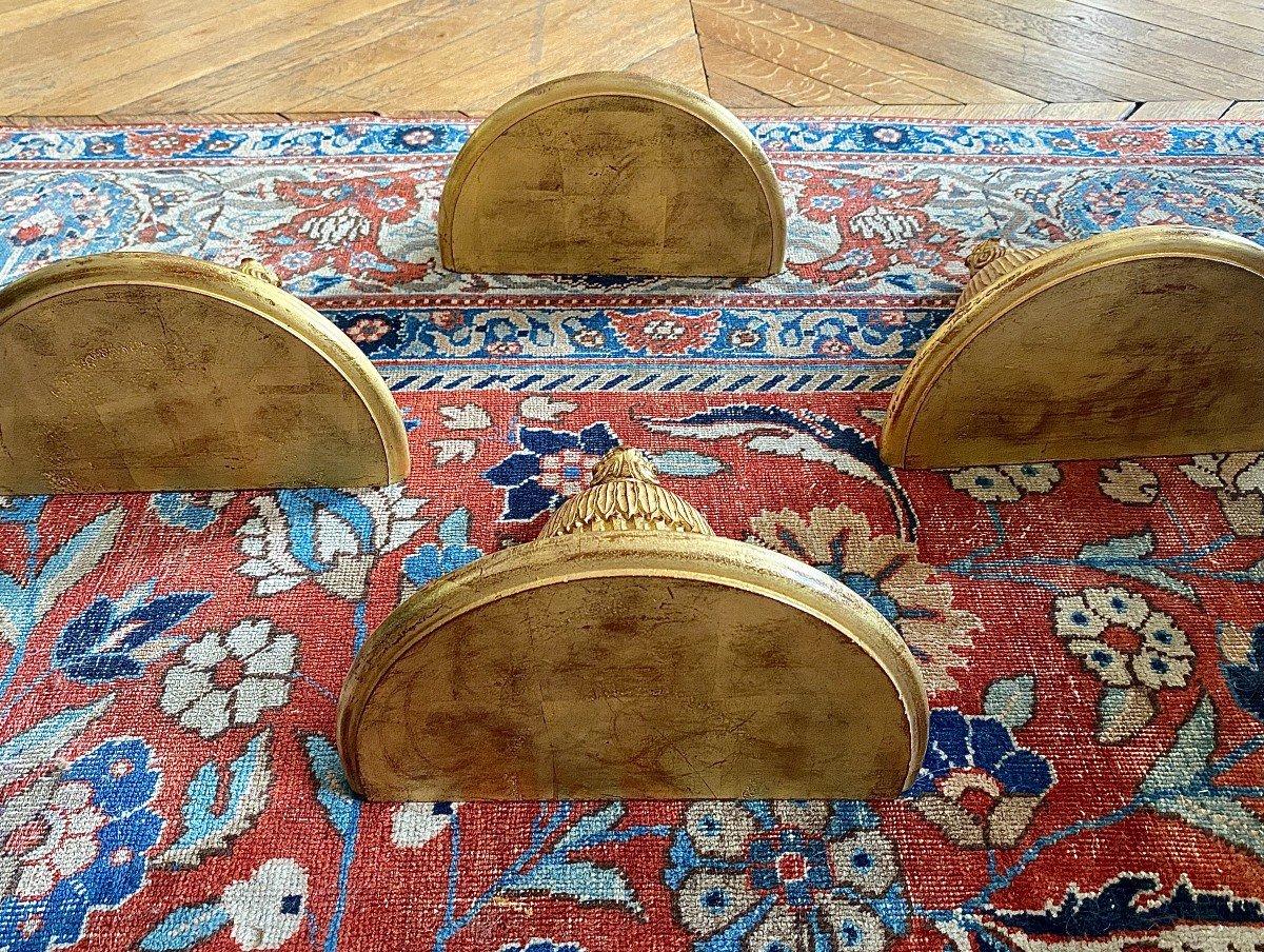 4 Consoles d'Appliques en bois doré De Style Louis XVI-photo-2