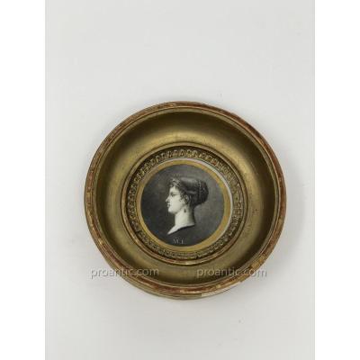 NAPOLEON Médaillon En Porcelaine De Paris Représentant l'Impératrice Marie-louise
