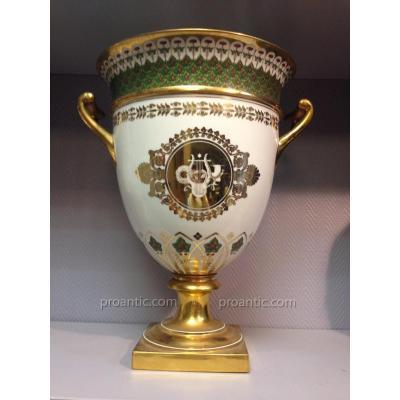 Glacière en porcelaine de Sèvres d'époque Restauration