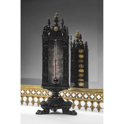 Thermomètre Semainier Tripode En Bronze
