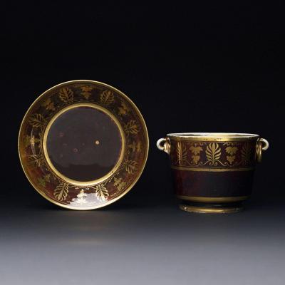 SEVRES Sucrier et une soucoupe en Porcelaine De Sèvres d'époque Consulat à fond écaille