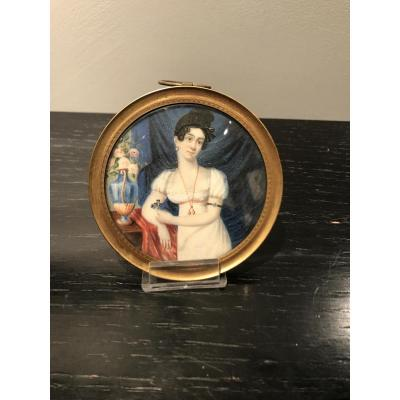Portrait miniature représentant Marie-Caroline Merman