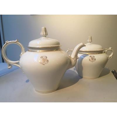 Théière Et Sucrier En Porcelaine Vers 1900