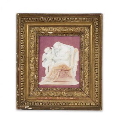 Plaque En Porcelaine de Paris à Décor d'une scène à l'antique avec Erato imitant le camée sur agate