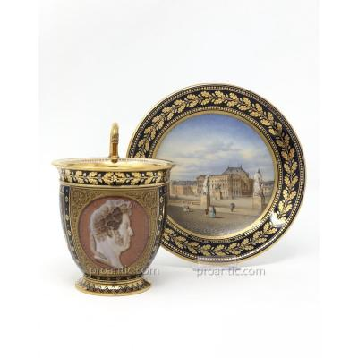 Superb Sèvres Porcelain Cup And Saucer With View Of Versailles