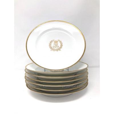 Sept Assiettes en Porcelaine de Sèvres du Service des Bals de Louis-Philippe à Fontainebleau