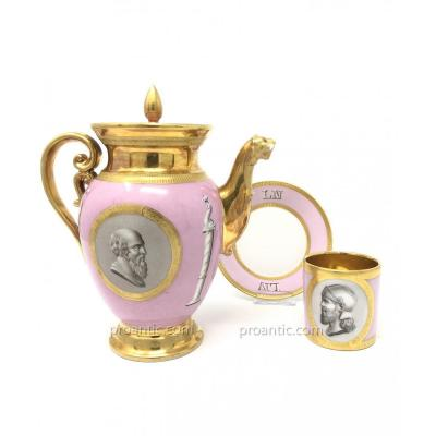 Teapot, Cup And Saucer Porcelain Paris