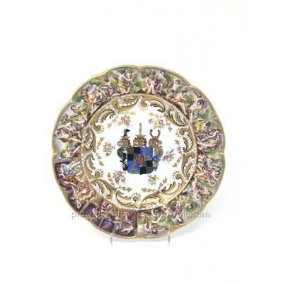 Capodimonte Porcelain Plate With Armorial Decoration