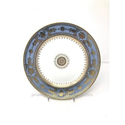 Sevres A Sèvres Porcelain Plate With Blue Agate Ground From Louis Philippe Period
