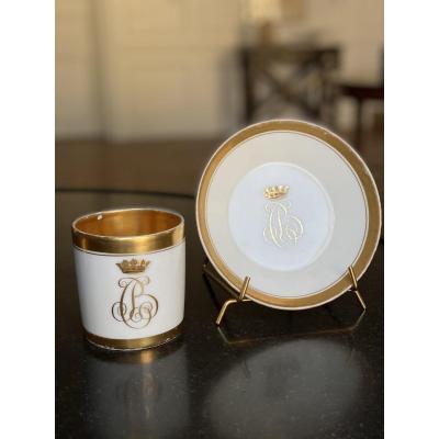Tasse litron et sa Soucoupe en porcelaine du Service d'Henri de Bourbon-Condé