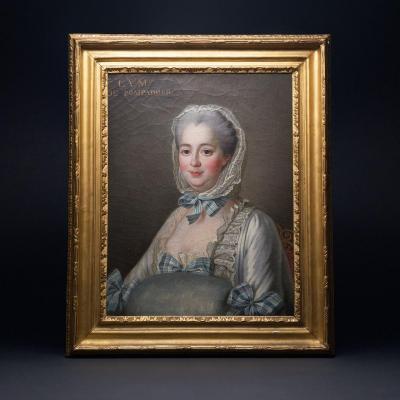 Huile sur toile, Portrait De Madame De Pompadour, d'après François-Hubert Drouais
