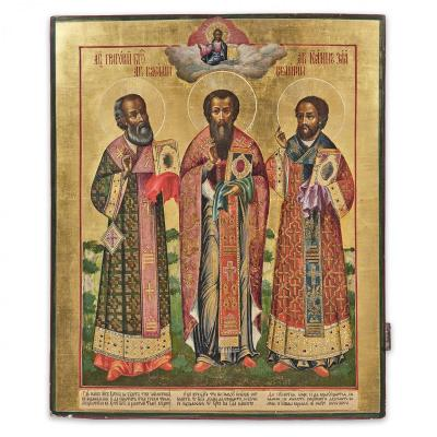 An Important Icon Of The Three Hierarchs Representing Saints Grigory, Vasily And Ivan