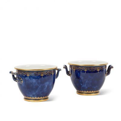 Pair Of Sèvres Porcelain Bottle Coolers With Blue Lapis Ground.