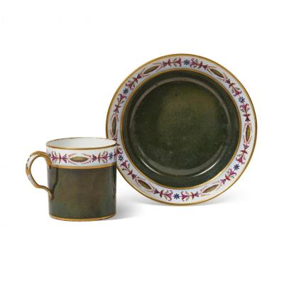 SEVRES Tasse Litron Et Sa Soucoupe en porcelaine de Sèvres du XVIIIe Siècle