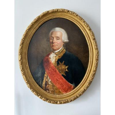 Huile Sur Toile, Portrait De Charles René Fourcroy De Ramecourt Par Pinchon (1772-1850)