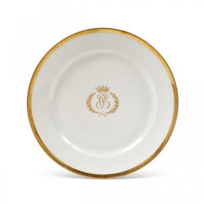 Rare Assiette En Porcelaine De Paris Provenant d'Un Service Inconnu Du Comte d'Artois