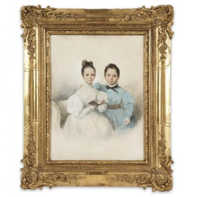 Oil On Paper Portrait Of Children Signed Finck, French School Of The 19th Century, Dated 1834