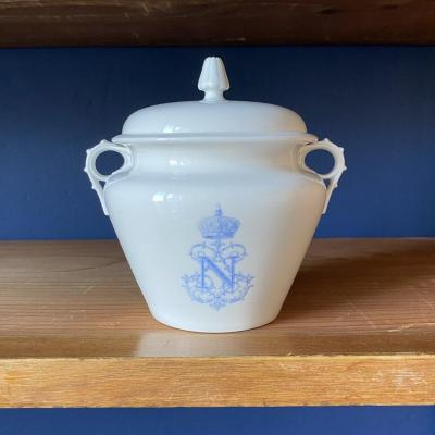 Sèvres Porcelain Peyre Sugar Bowl From The Service Des Offices Of Emperor Napoleon III Sevres