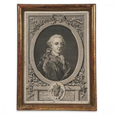 Engraving Figuring King Louis XVI Of France, Print By Cathelin Dating From The 18th Century