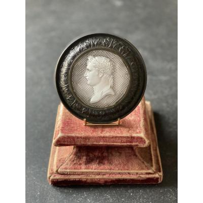 A Bronze Medallion Decorated With A Crystal Sulphide With Portrait Of Emperor Napoleon I