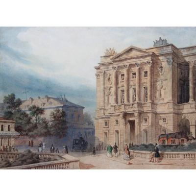 Rare View Of The Hôtel De Crillon In Paris In 1850, Monogrammed And Dated Watercolor