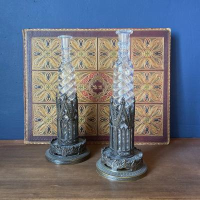 Pair Of Melissa Water Flasks Mounted In Bronze Of Troubadour Style With Gothic Decor