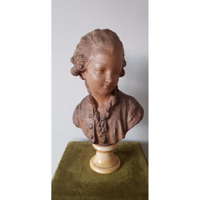 Terracotta By Fernand Cian (1889-1954). Bust Of The Comte d'Artois As A Child, Marble Base.