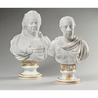 Habsburg Pair Of Parian Busts Depicting Joseph II & Marie-therese Of Austria