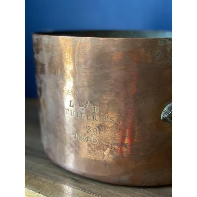 Large And High Copper Saucepan From The Palais Des Tuileries