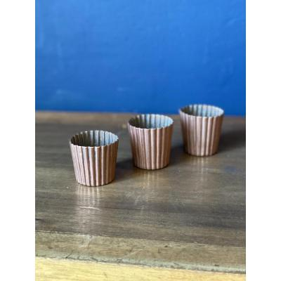 Set Of Three Copper Cannelés Molds With Princely Monograms