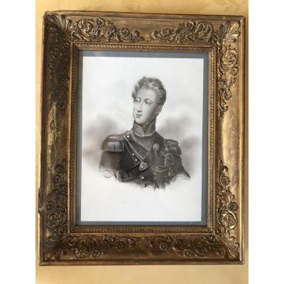 Drawing With Graphite On Paper Representing The Duke Of Nemours, Son Of King Louis-philippe