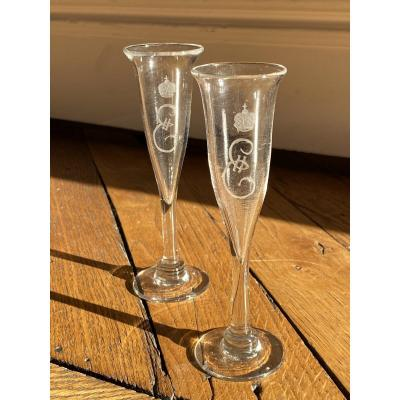 Pair Of Glass Champagne Flutes Engraved With The Cipher Of Empress Catherine II Of Russia