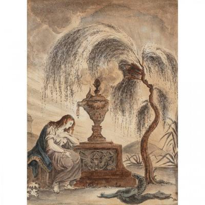 Rare Aquarelle Séditieuse Aux Profils De Louis XVI, Marie-antoinette Et De La Famille Royale