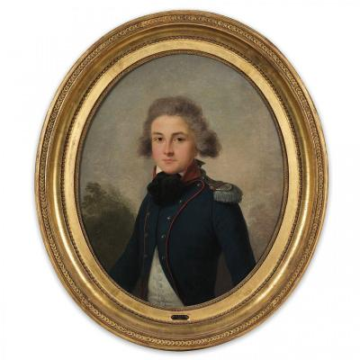 Oil On Canvas 18th Century Attributed To Antoine Giroust, Portrait Of A Lieutenant Circa 1791