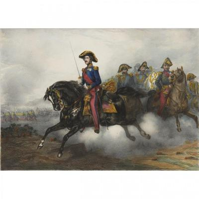 Rare Colored Lithograph After Eugène Lami Depicting The Duke Of Orleans Son Of Louis-philippe