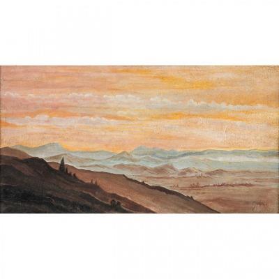 Jean-baptiste Adolphe Gibert (1803-1889), Oil On Paper, Sunset In Italy