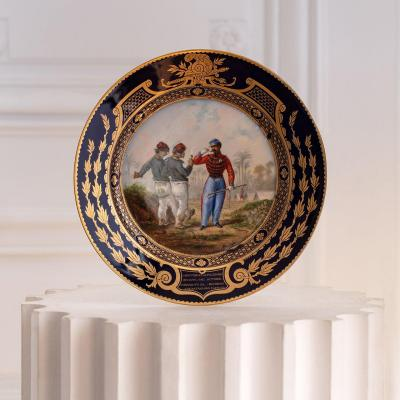 A Napoleon III Sèvres Porcelain Plate From The Service Of Ministry Of War Sevres
