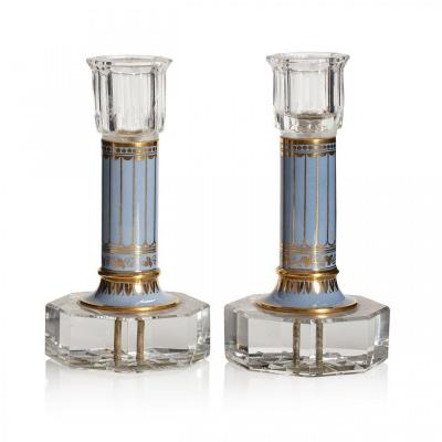 Pair Of Candlesticks In Cut Crystal And Sèvres Porcelain Circa 1830