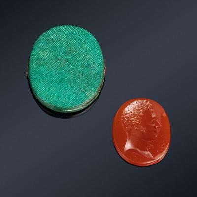 Rare Intaglio On Glass By Simon Fils Representing The Duke Of Angoulême Circa 1828