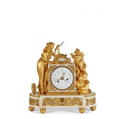 A Louis XVI Gilt-bronze Mounted White Marble Mantel Clock 18th Century With Venus And Cupid