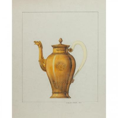 Gustave Keller (1879-1955), Drawing, Project For An Empire-style Silver-gilt Teapot