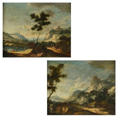 Paire d'Huiles Sur Toiles, Entourage De Marco Ricci (1676-1730), Paysages Champêtres