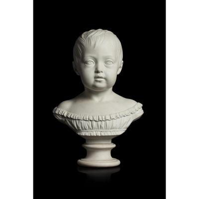 Rare Buste En Biscuit De Sèvres, Portrait De La Princesse Louise d'Artois