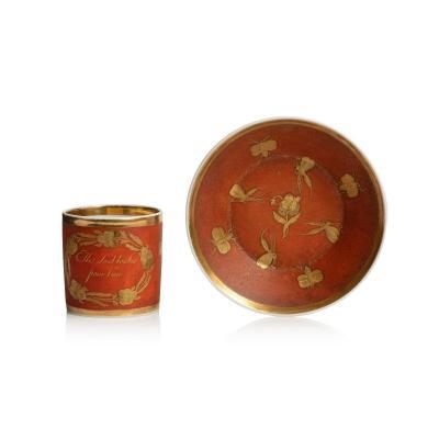 Tasse Litron Et Sa Soucoupe En Porcelaine De Paris d'époque Empire à Décor De Papillons