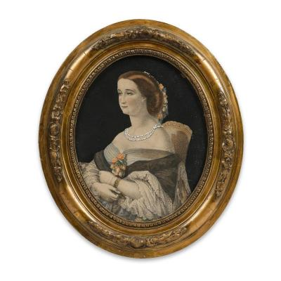 Portrait De l'Impératrice Eugénie, Lithographie Rehaussée à l'Aquarelle