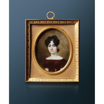 Pierre Brun (1764-1856), Portrait d'Une Jeune Femme, Miniature Peinte Sur Ivoire Signée Datée